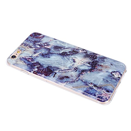 iPhone 6S Plus Silikon Hülle,iPhone 6 Plus Hülle,JAWSEU Cool Kreativ Ultradünn Weiche Blau Stein Marble Muster TPU Bumper Handytasche Flexible Soft Schutzhülle Zurück Marmor Linien Back Silicone Rubbe Marble,Blau