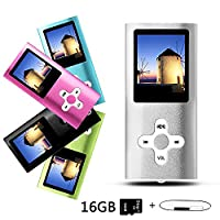 Btopllc MP3 Player, MP4 Player, Music Player, Portable 1.7 inch LCD MP3/MP4 Player, Media Player 16GB Card, Mini USB Port USB Cable, Hi-Fi MP3 Music Player, Voice Recorder Media Player - Silver