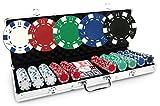 Malette Dice Basic 500 jetons - Malette Poker 500 jetons de Poker Dice 11,5g + Mallette Aluminium + 2 Jeux de Cartes plastifiées + Bouton Dealer