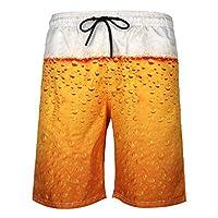 iYBUIA Men's Swim Trunks Funny 3D Print Graphic Drawstring Athletic Quick Dry Beach Quick Dry Short Pants X-Large Gold