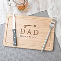 "Personalised Fathers Day Gift -""Licence to Grill"" Design - Wooden Chopping Board - Novelty Birthday Present Idea - 30x20cm Serving Board Slate or Hevea Wood Available"