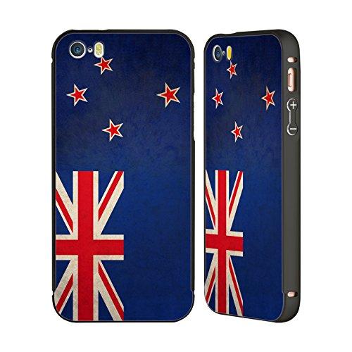 Head Case Designs Südafrika Südafrikaner Vintage Fahnen Schwarz Rahmen Hülle mit Bumper aus Aluminium für Apple iPhone 5 / 5s / SE Neuseeland