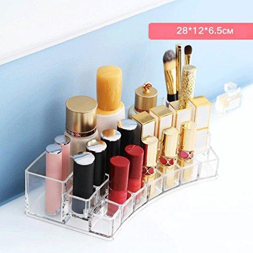 UOMUN Étui de Maquillage Rouge à lèvres Boîte De Rangement Maquillage Organisateur Acrylique Dressing Table Boîte De Rangement Clair Mode Grand Diamètre