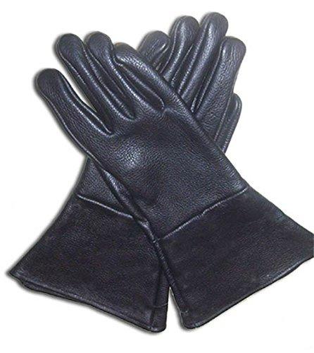 Leather Mystics Leder Stulpenhandschuhe schwarz 3X Große Lang Arm ()