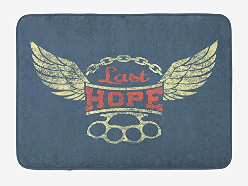 Woven Knuckle (OQUYCZ Vintage Bath Mat, Grunge Label Wings Chain Brass Knuckles Last Hope Quote for Bikers, Plush Bathroom Decor Mat with Non Slip Backing, 23.6 W X 15.7 W Inches, Slate Blue Red Pale Yellow)