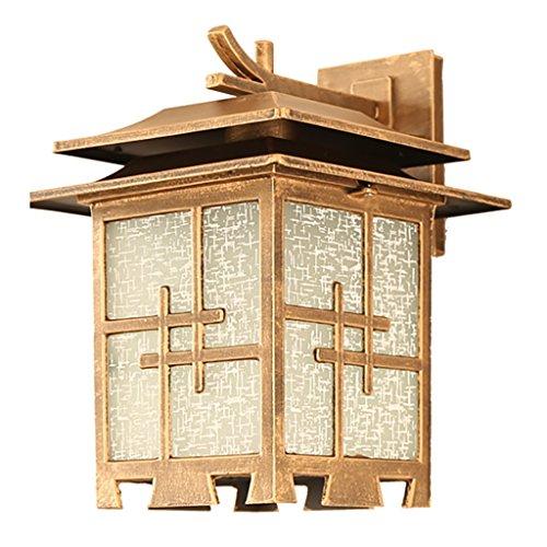 Luz H Apliques de Exterior Lámpara de Pared Japonesa al Aire Libre a Prueba de Agua Patio balcón Pasillo Villa lámpara de Pared Accesorios de iluminación de Pared (Color : Brass)