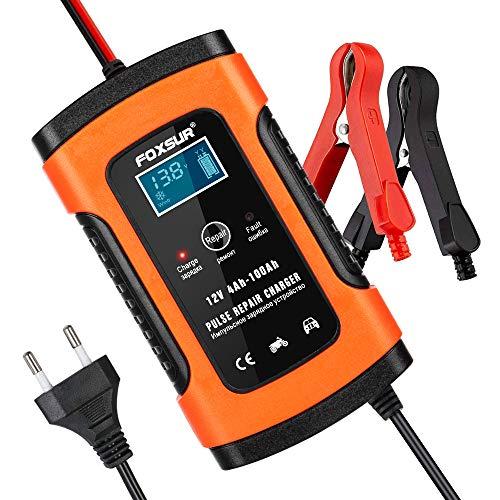 opamoo Batterie Ladegerät Auto, 5A 12V Vollautomatisches Batterieladegerät Auto Erhaltungsladegerät mit LCD Mehrfachschutz für Autobatterie, Motorrad, Rasenmäher oder Boot