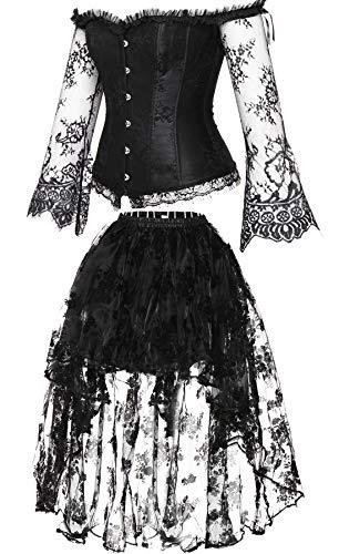 Steampunk Tanz Kostüm - Damen Korsett Spitze Kleid Boned Bustier Steampunk-Kostüm Rock und Korsett Top Verstellbaren Taillentrainer-XL