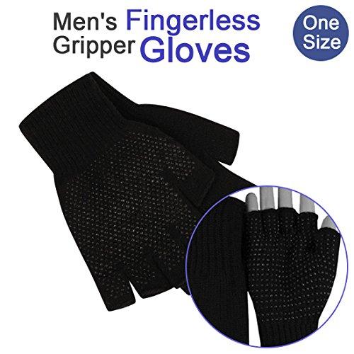 Magic Gripper Handschuhe für Herren Damen Palm Grip Fingerlose, Winter Handschuhe–für Fahren Reiten Arbeit safety- schwarz (Magic-handschuhe Dehnbare)