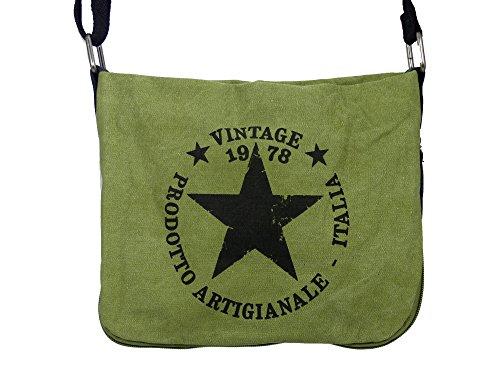 Coole Canvas Style Umhängetasche - Vintage Stern - Vernietung an der Seite - umlaufender Reißverschluß - Damen Mädchen Teenager Tasche Hellgrün