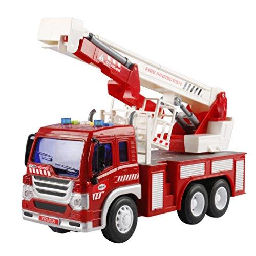 Musik Fire Fighting Truck mit Licht Kinder Spielzeug, mamum Fire Rescue Truck mit Crane Toys Reibung powered Fahrzeug mit Licht und Musik