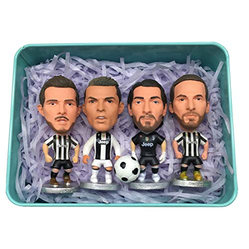 Juventus Club Vier Action-Figuren Set Mini Soccer Star Statue - Harz Skulptur Home Display Figuren Büro Tabletop Auto Dekor für Jungen