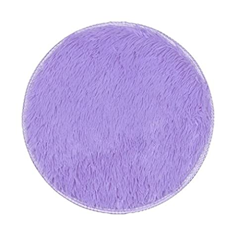 Covermason Soft Thickened Circular Rug Carpet Mats For Dining Room Bedroom Floor 40X40CM (Purple)