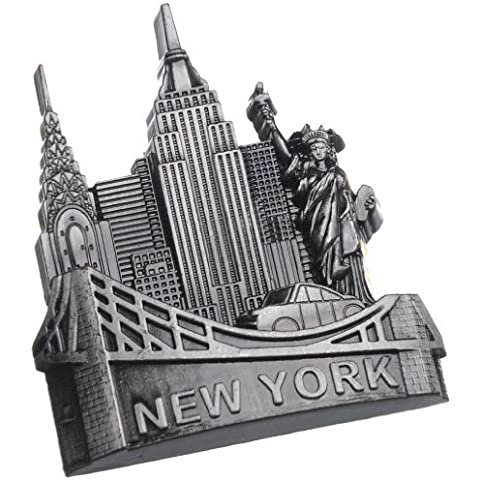 New York Landmarks Souvenir Metal Fridge Magnet Brooklyn Bridge NYC Cab Statue of Liberty NY Empire State Building Chrysler Building Metal Magnet by