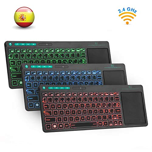 RII K18 Plus Cordless -Keypad 3 LED colors, Rechargeable lithium-ion battery, Qwerty español, Color black