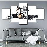 RurengCanvas Wall Art Pictures Home Decor 5 Pezzo Strumenti per Parrucchieri Forbici Pettine Pittura Stampa Barbershop Salone di Bellezza Poster