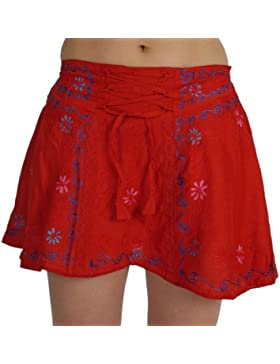 ufash Minifalda bordada con cintas juguetonas y cinturilla elástica - tallas y diseños diferentes