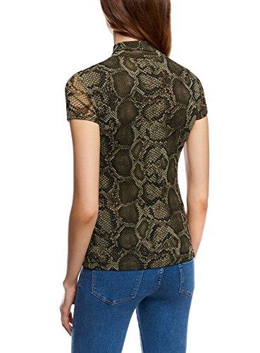 ... oodji Collection Damen Bedrucktes Kurzarmshirt mit Rollkragen Grün ( 6668A) ...