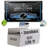 Seat Leon 1P 2DIN Silber - JVC KW-R520E - 2DIN Autoradio Radio - Einbauset