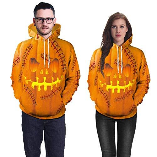 Scary Und Sexy Kostüm - TIFIY【♥Halloween】 Mens Casual Scary Halloween Liebhaber 3D Print Party Langarm Hoodie Top Bluse Interessant Schrecklich Neuheit Halloween Kostüm(Gelb,XXL)