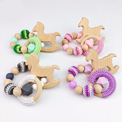 Best for baby Kinderwagen 4PC Hölzern Ring Massager Buche Pferd DIY Silikonperlen Armbänder Geschenk Baby Teether