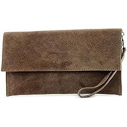 modamoda de - ital. Ledertasche Clutch Unterarmtasche Abendtasche Citytasche Wildleder T151 , Präzise Farbe:Blassbraun