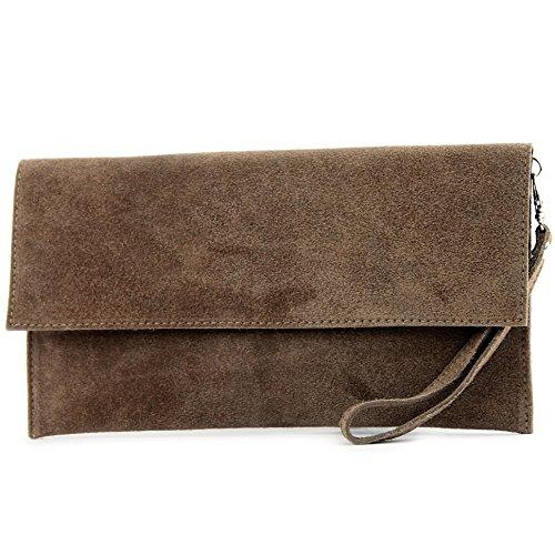 modamoda de - ital. Ledertasche Clutch Unterarmtasche Abendtasche Citytasche Wildleder T151 , Präzise Farbe:Blassbraun (Handtasche Umhängetasche Wildleder)