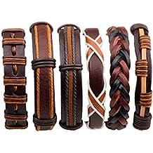 6b37763b1d63 aiuin 6ST pulsera hombre mujer set brazo Maduro cuerda Negro Cuero PU  Unisex ajustable cáñamo Multi