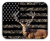 Drempad Alfombrillas De Ratón Custom, Anti-Slip Mousepad Desktop Mouse Pad Laptop Mouse Pad Gaming Camouflage Deer USA Flag