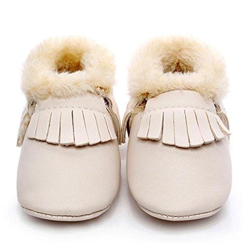 Ouneed® 0- 18 mois Bebe Naissance Cuir Souple Chaussures (13, Violet) Beige