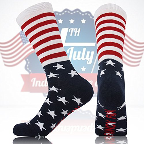 Unisex American Flag Socks Crazy Fun Design Patterned Cushion Cotton Fashion Novelty 2 or 4 Pairs stripe/2pairs