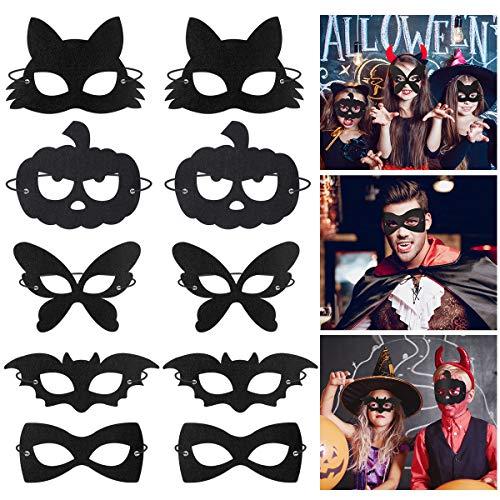Amosfun Halloween Augenmaske Filz Tier Maske Maskerade Cosplay Maske Schwarz Halbmaske mit Gummiseil für Halloween Cosplay Kostüm Zubehör 20 STÜCKE