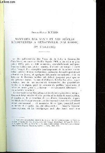 MONNAIES DES Ve/VIe ET VIIe SIECLES DECOUVERTES A GENAINVILLE (VAL D'OISE) / EXTRAIT DE AL REVUE NUMISMATIQUE - 6e serie - TOME XX - 1978.
