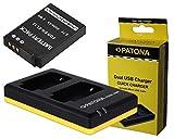 3in1Set per la Nikon keymission 360Action Camera–-- batteria per nikon EN-EL12(800mAh) + doppio caricatore (consente di caricare 2Batterie ricaricabili via USB LAN Su Una volta) incluso PATONA displaypad