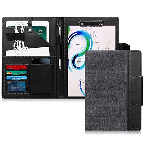 Toplive Portfolio A4 en cuir PU, porte document, portfolio cuir Magnetique Range Documents Porte-bloc pour réunion/bureau/carte de visite professionnel/dossier de conférence,No