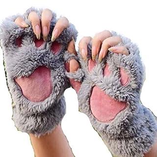 AOHANG Womens M?dchen Winter Handschuhe F?ustlinge Cute Cartoon Tier B?r Katze Klaue Half Finger Thick & Warm Weiche Pl¨¹sch Coral Fleece String Handschuhe F?ustlinge-#1