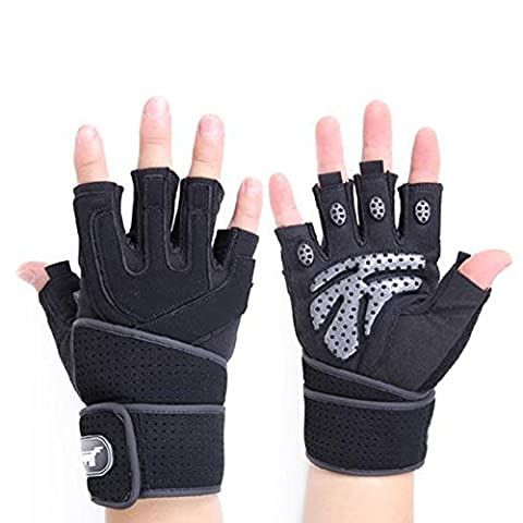 LanLan Training Half Finger Wrist Protector Non-Slip Wear-Resisting Shock Absorption Breathable Ventilated Sport Gloves for Man