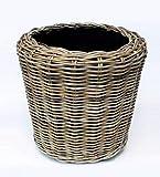 Van der Leeden Drypot Pflanzkorb Rattan braun, D50 x H52 cm