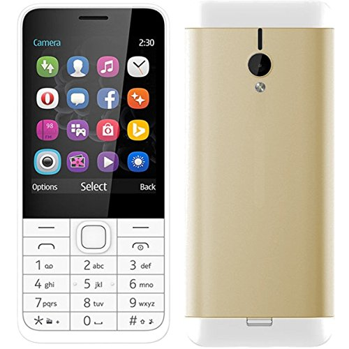 Goodone G230 Dual SIM 2.8 inch TFT Display Keypad Mobile with Whatsapp, Opera Mini, Google application and VGA Camera Bright torch Vibration option (Gold)