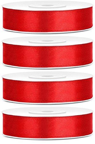 SiDeSo® SATINBAND 100m x 12mm (4x25m Rolle) viele Farben Hochzeit Dekoband Geschenkband Antennenband Schleifenband (rot) (Rot Band)