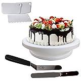 Kurtzy 6 stücke Tortenplatte Drehbar mit Winkelpalette und Kuchenschaber - Kuchen Drehteller - Drehbar Tortenständer - Streich-Palette - Teigschaberkarte