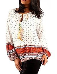 Young-Fashion Bluse Hippie Blusenshirt Schlupfbluse Druckbluse