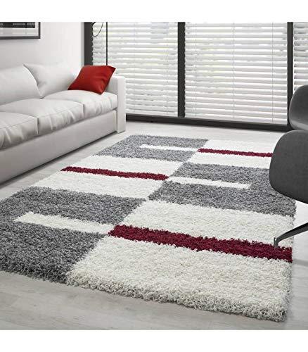 Teppich Hochflor Langflor Wohnzimmer Gala Shaggy Florhöhe 3cm Mehrfarbig - Grau-Weiss-Rot, 140x200 cm