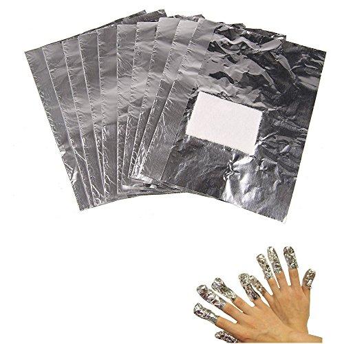 Beauty7 Nail Art 100 Pcs Papier Aluminium Avec Coton Foil Wraps Pour Vernis Dissolvant Soak Off UV Gel Manucure