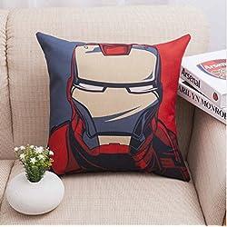 PENVEAT Funda de cojín para sofá de hierro con el logotipo de los Vengadores, para silla de oficina, Capitán América, Iron Man