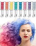 Haarkreide Kamm - Auswaschbares Haarfärbemittel - Temporäre Haarfarbe für Helle und Dunkle Haare - 8 Farben Set