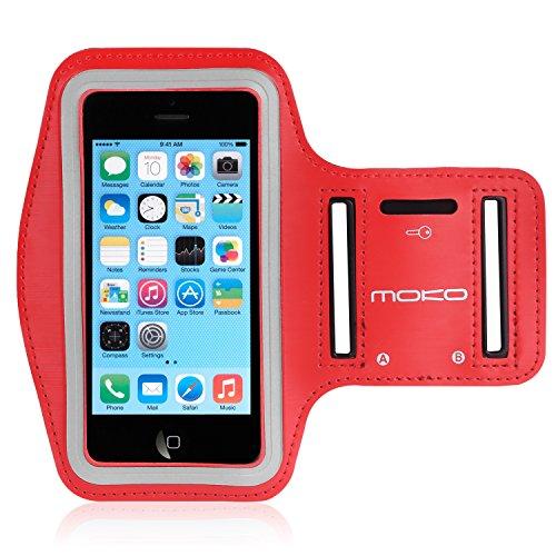 MoKo iPhone 5S Sportarmband - Sweatproof Joggen Laufen Sport Armband Handy Hülle Schutzhülle Case + Schlüsselhalter Kopfhörer Anschluss für Apple iPhone 5 / 5S / 5C / 5SE Smartphone, Rot