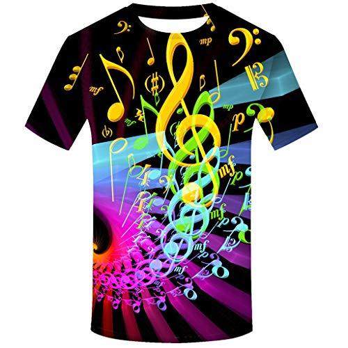 echo4745 Unisex Rundhals Shirt Bluse Herren Elegantes T-Shirt kurzärmlig Sportswear Farbverlaufs Musiknote Gedruckt Gemusterte Männer Freizeit Hemd Tee Tops Mit Rundhalsausschnitt(L,Gelb) -