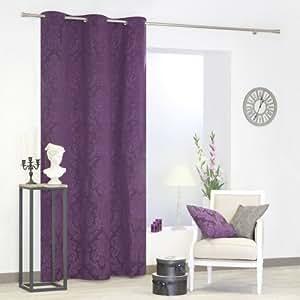 rideau coton jacquard 135x240 cm style baroque violet cuisine maison. Black Bedroom Furniture Sets. Home Design Ideas