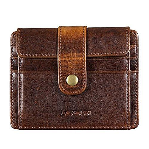 Mini Herren Geldbörse, Lensun Klein Münzen RFID Blocking Slim Echt Leder portmonee für Männer, Mini Brieftasche, Credit Card Holder, Geschenk-Box (QB-CK-DB)